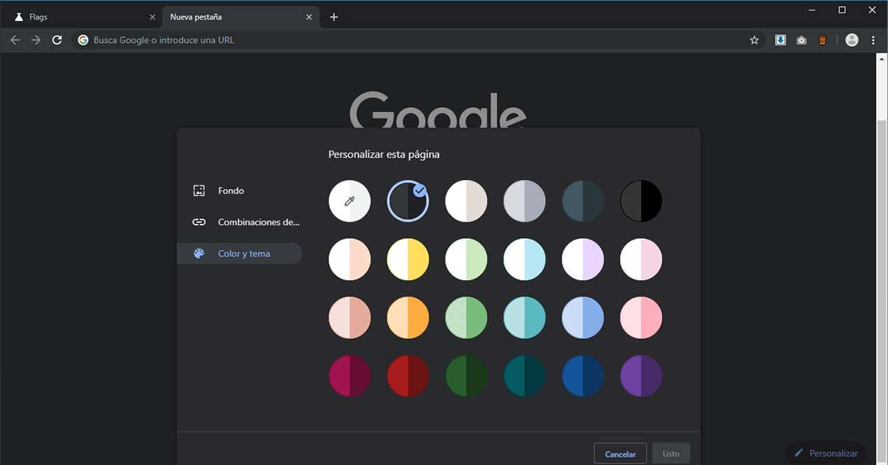 google chrome personalizar color tema