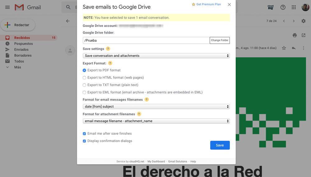 Guardar correo en Google Drive