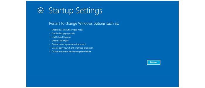 Opciones de inicio de Windows