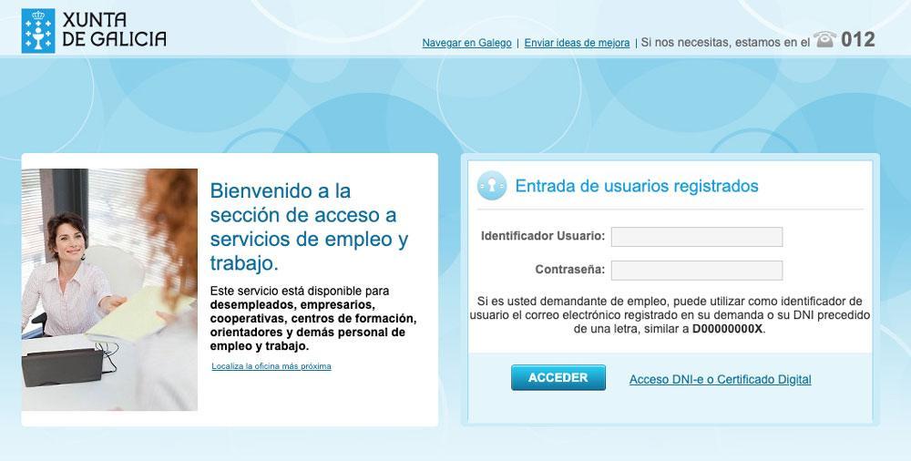 Portal del SEPE para Galicia