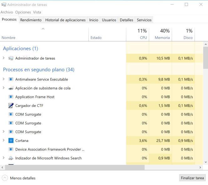 Procesos de Windows 10