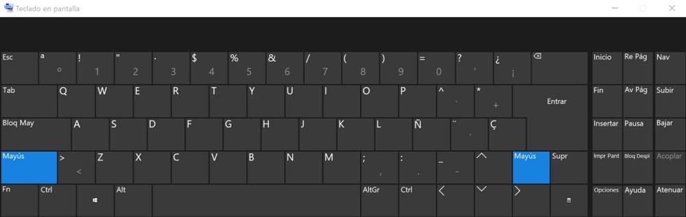 Teclado virtual avanzado de Windows 10