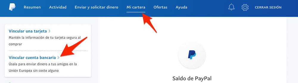Vincular cuenta bancaria con PayPal