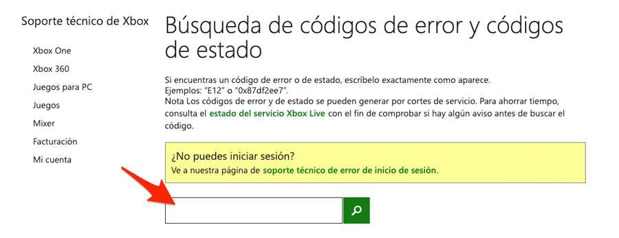 Buscador de códigos de error en Xbox One