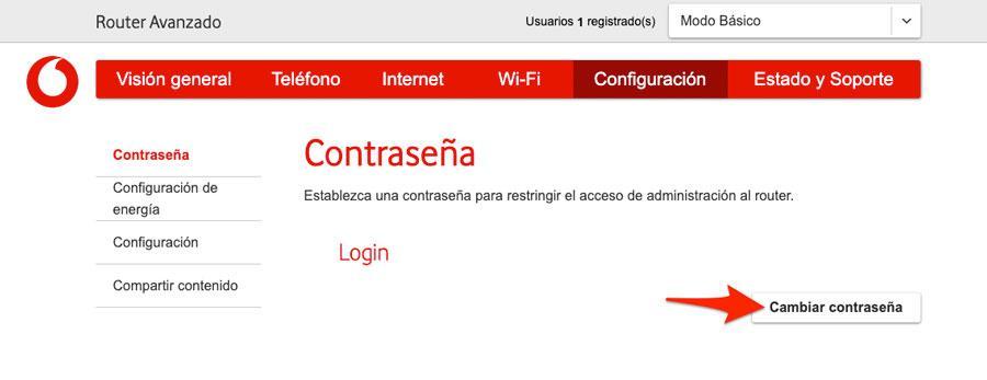 Cambiar contraseña de acceso al router