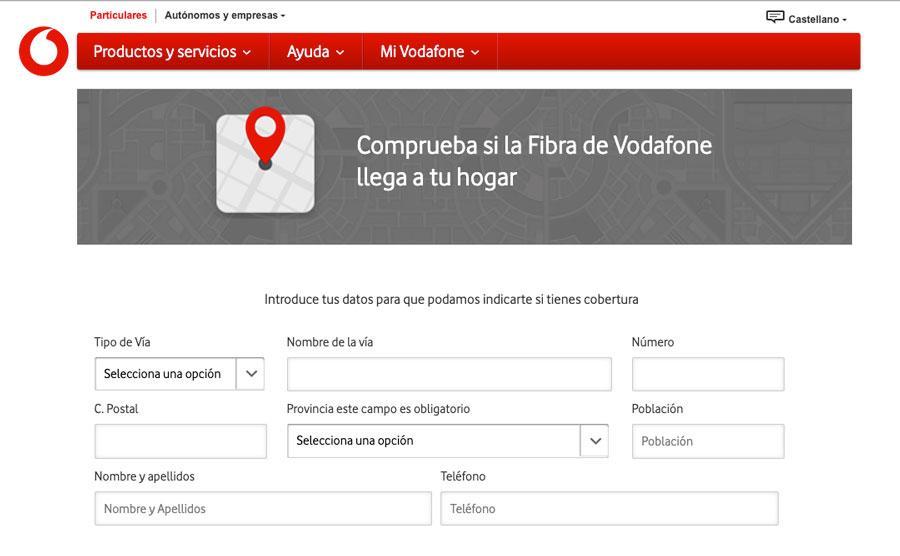 Comprobar cobertura de fibra de Vodafone