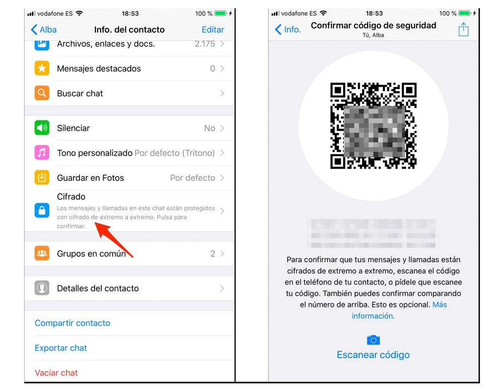 Comprobar código de cifrado de WhatsApp