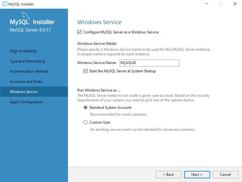 Convertir MySQL en servicio de Windows