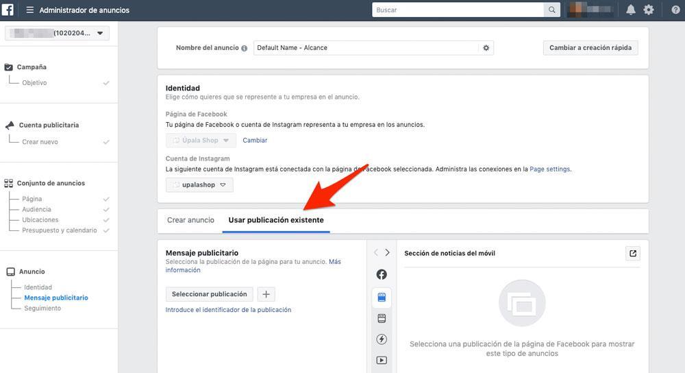 Crear anuncio en Facebook