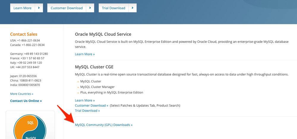 Descargar la versión Community de MySQL