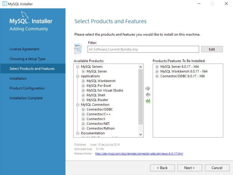 Instalación personalizada de MySQL Server