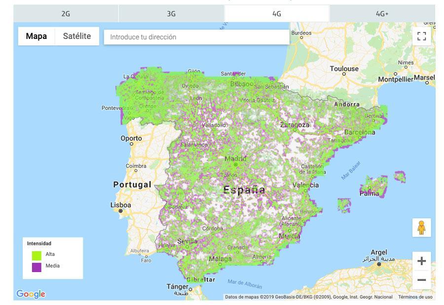 Mapa de cobertura de Movistar
