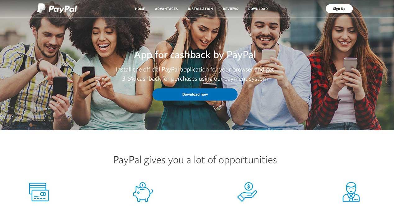 paypal cashback falso