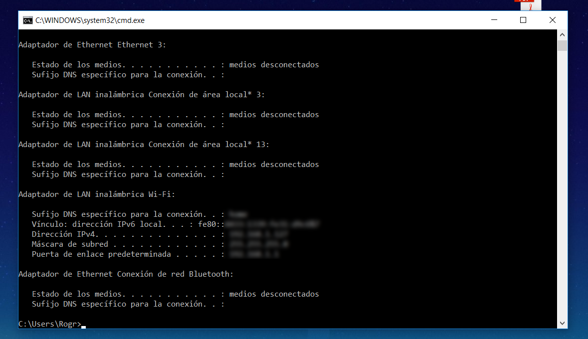 Consultar la IP en Windows CMD