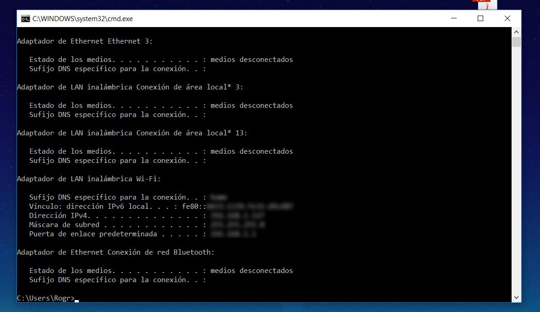 Consultar la IP en Windows CMD