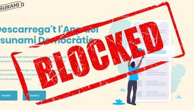 Nueva chapuza bloqueando una web, ahora con Tsunami democràctic