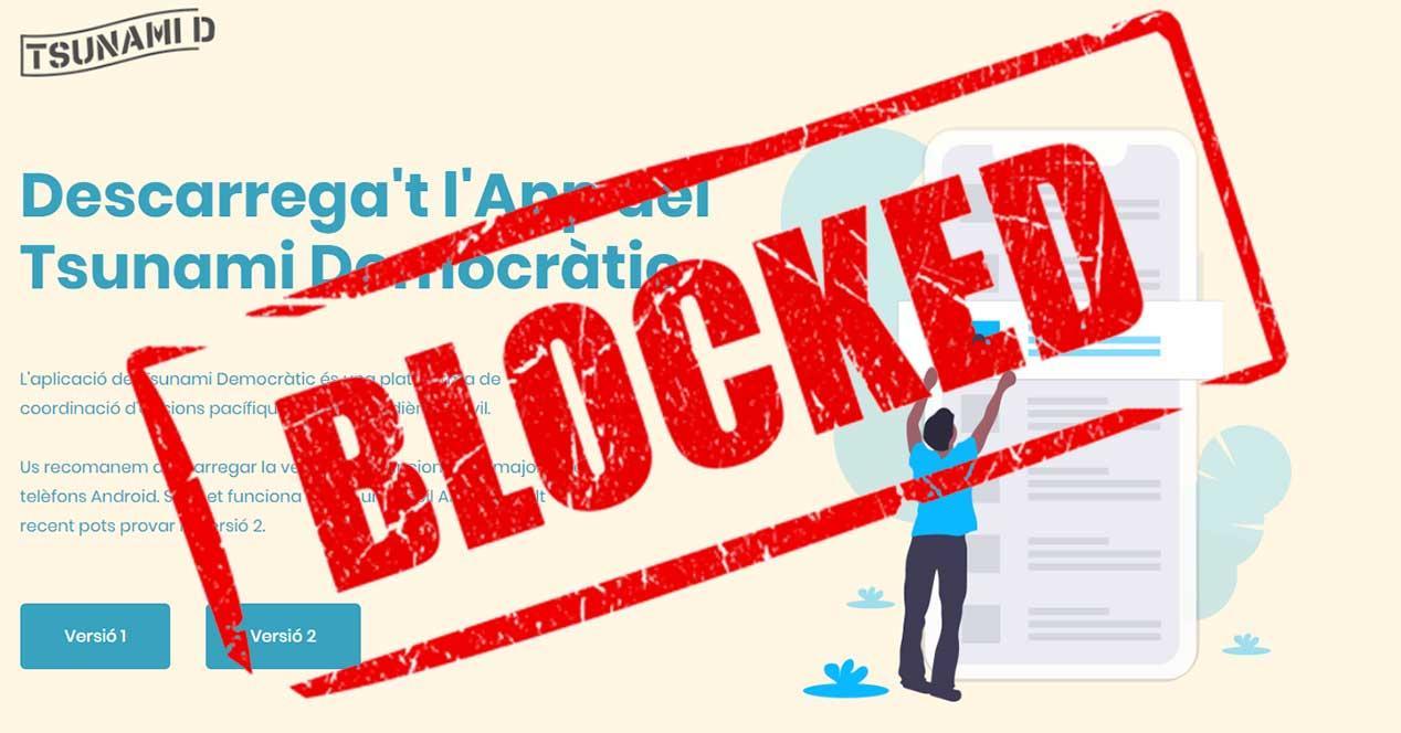 tsunami democratic web bloqueada