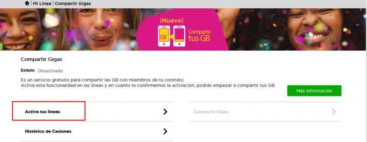 compartir datos en Jazztel