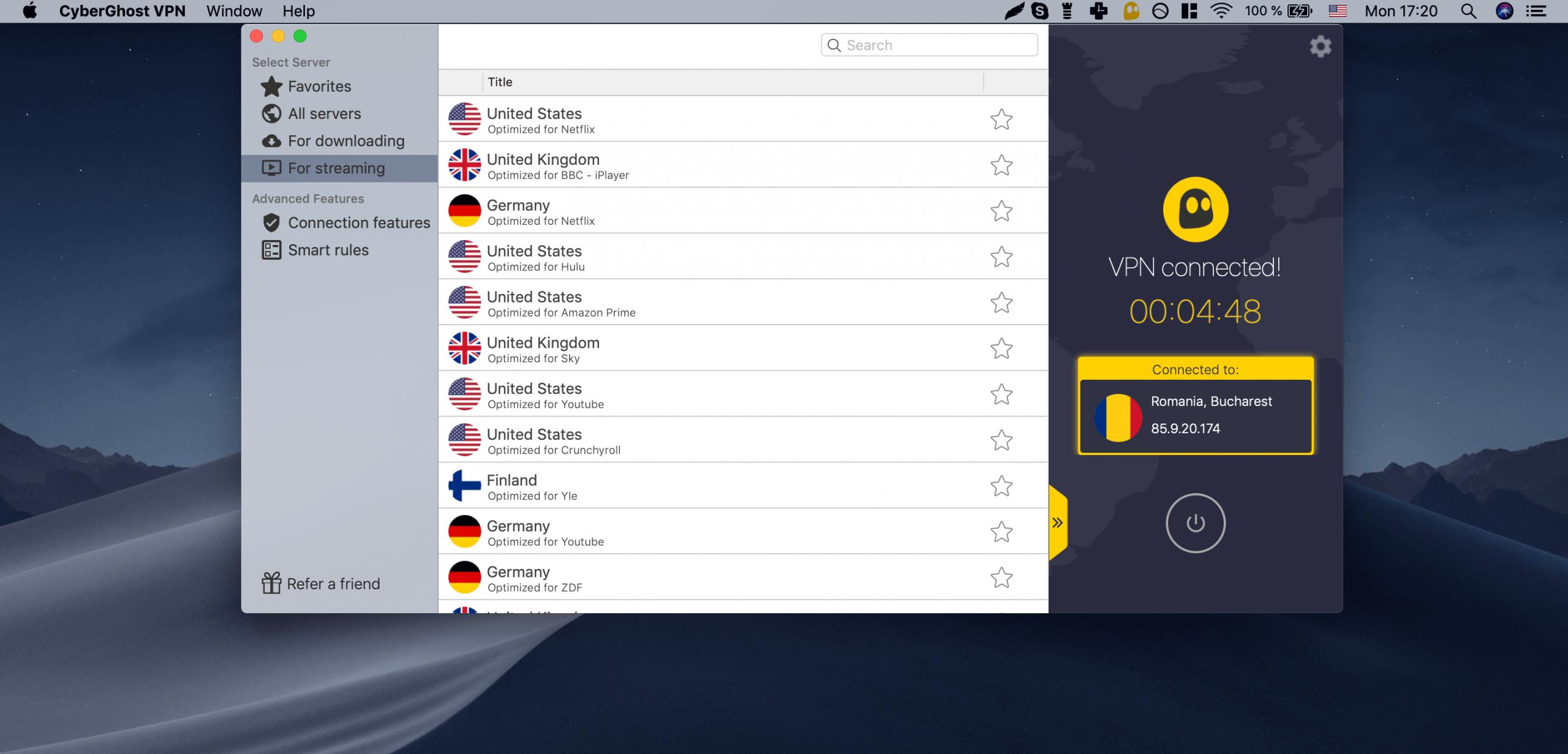 CyberGhost - mejores VPN gratis