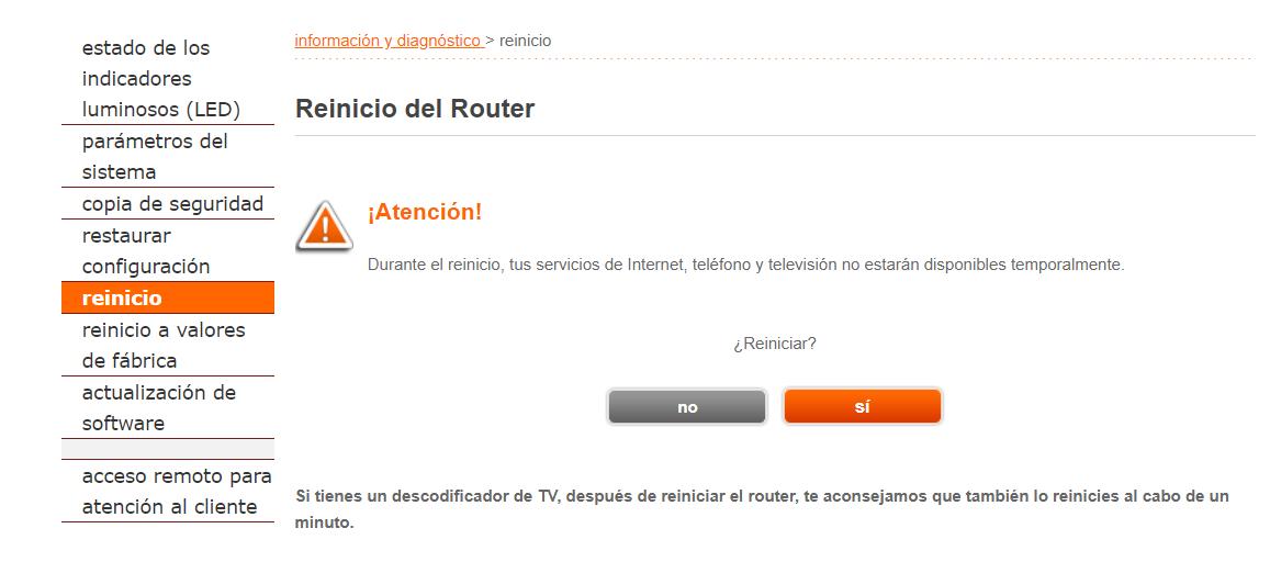 Reiniciar el router