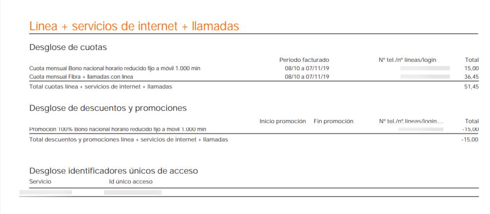 Facturas Orange- Líneas y servicios