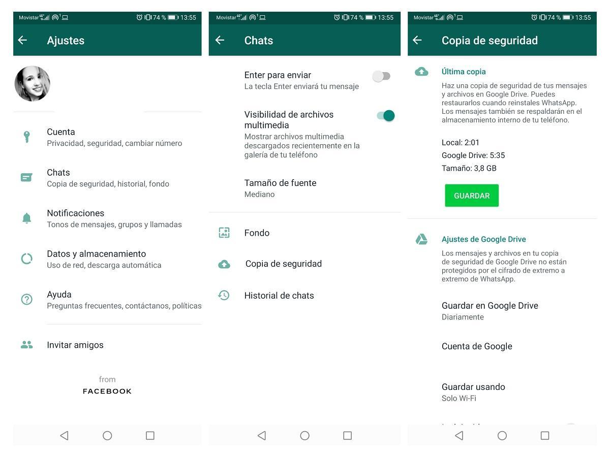 Copia de seguridad de WhatsApp - esperando el mensaje