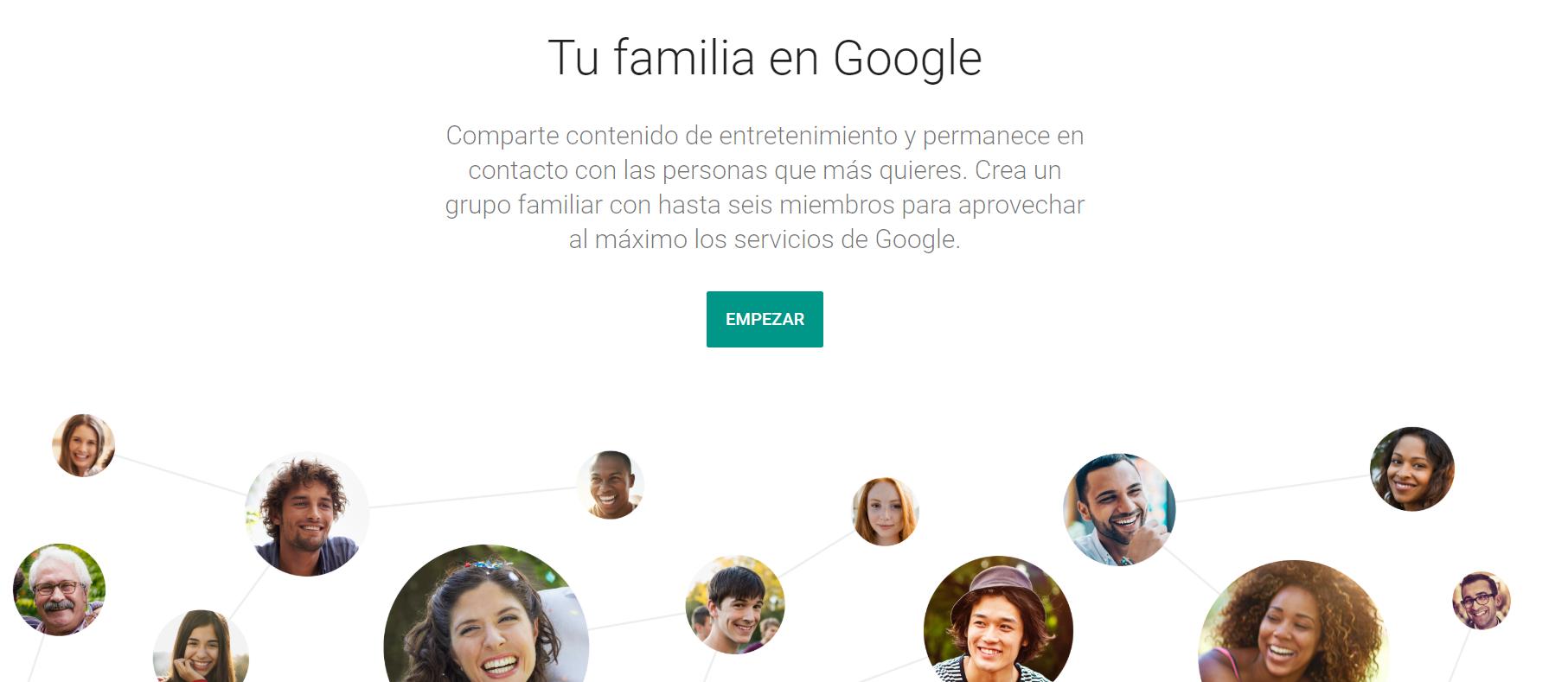Crear grupo familiar en Google