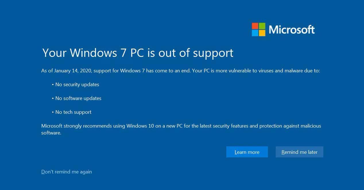 microsoft windows 7 windows 10 alerta actualizar
