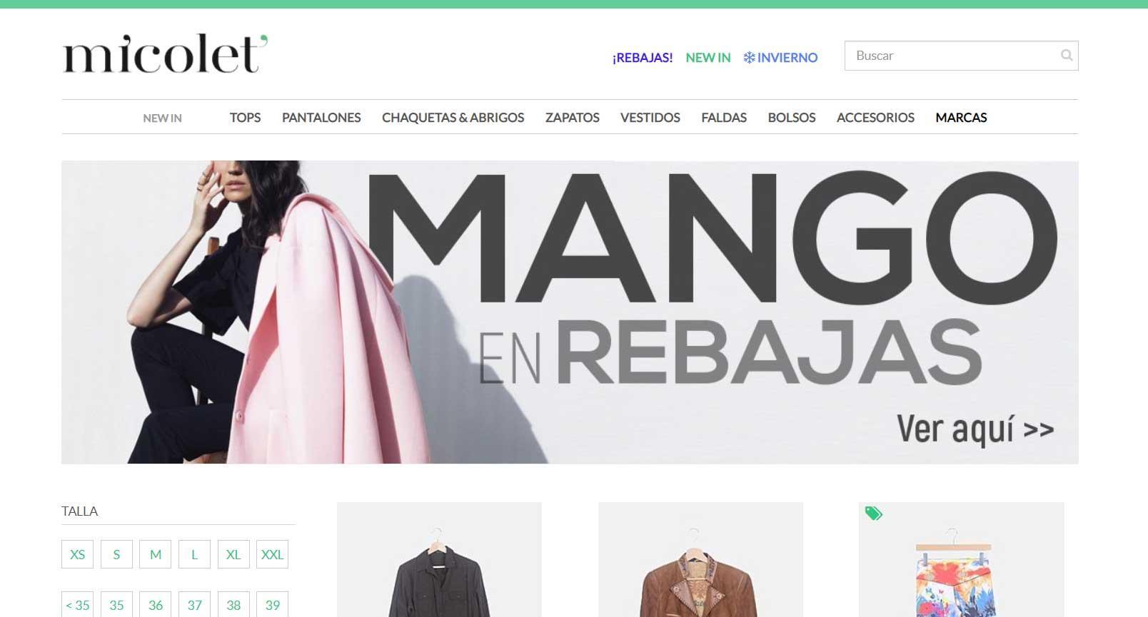 Micolet - Mejores webs para vender ropa