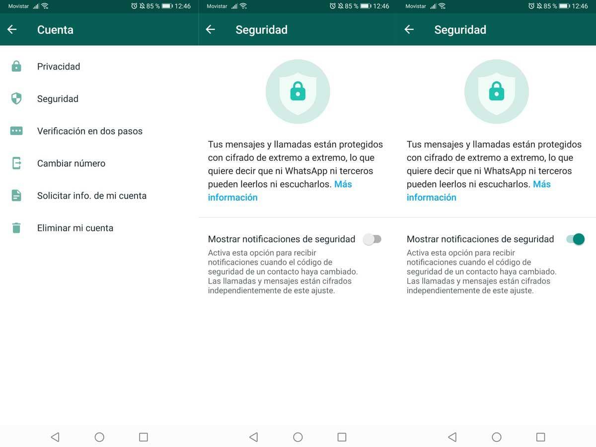 Notificaciones de seguridad WhatsApp