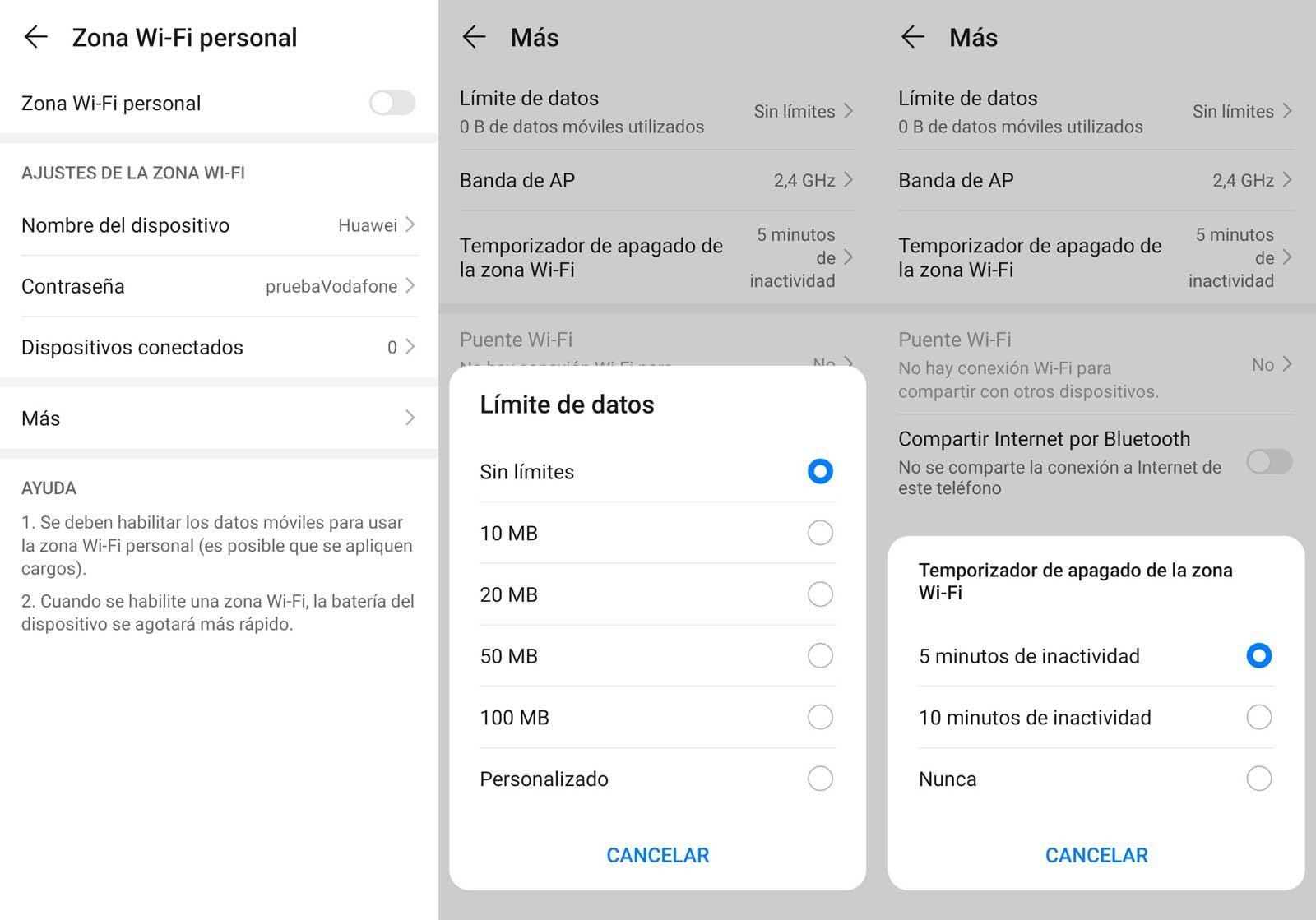Compartir datos Vodafone con Zona WIFI