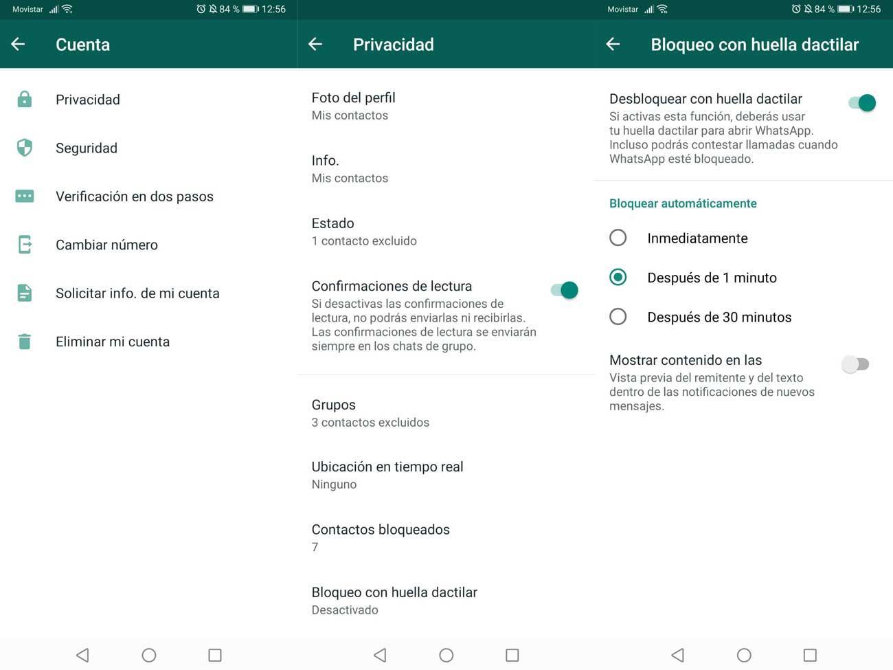 proteger tu cuenta de WhatsApp - Bloqueo con huella