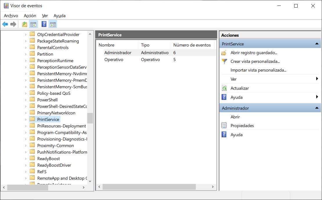 Historial de impresión en Windows 10