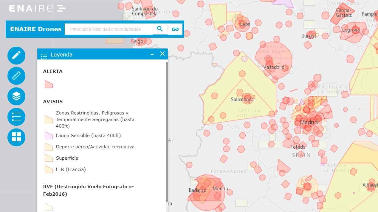 Dónde volar un dron - Mapa