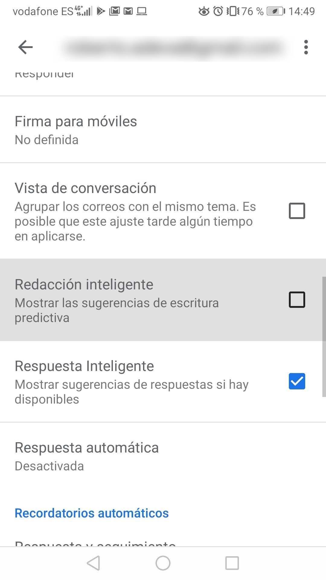 Gmail redacción inteligente