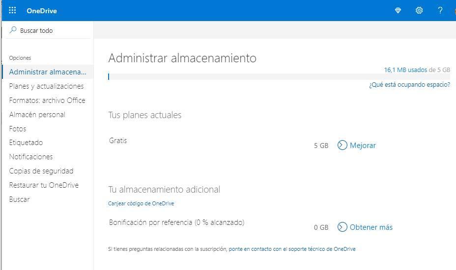 espacio gratis en OneDrive