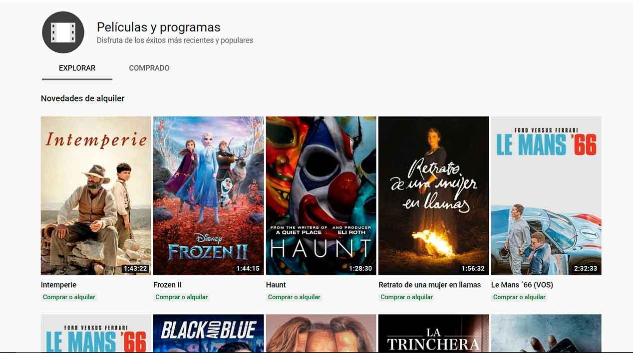 Alquilar películas en YouTube