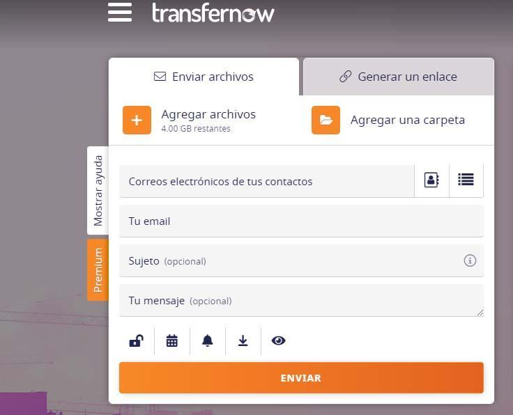 enviar archivos grandes con transfernow