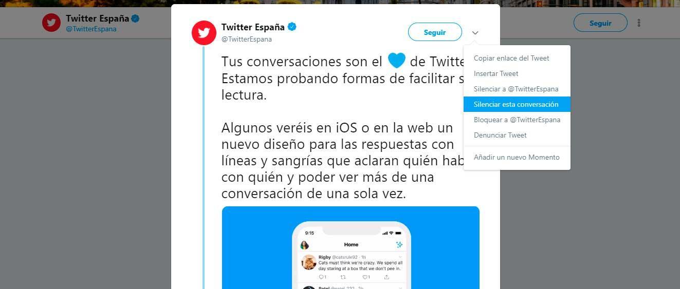 Silenciar palabras en Twitter y conversaciones