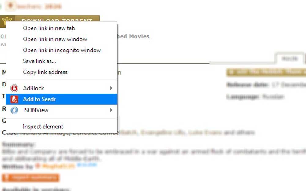 Extension de Seedr para navegador para descargar torrents en la nuibe