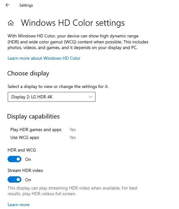 HDR En Windows 10