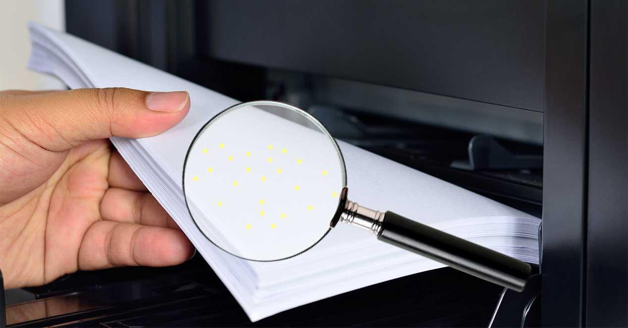 impresora puntos amarillos
