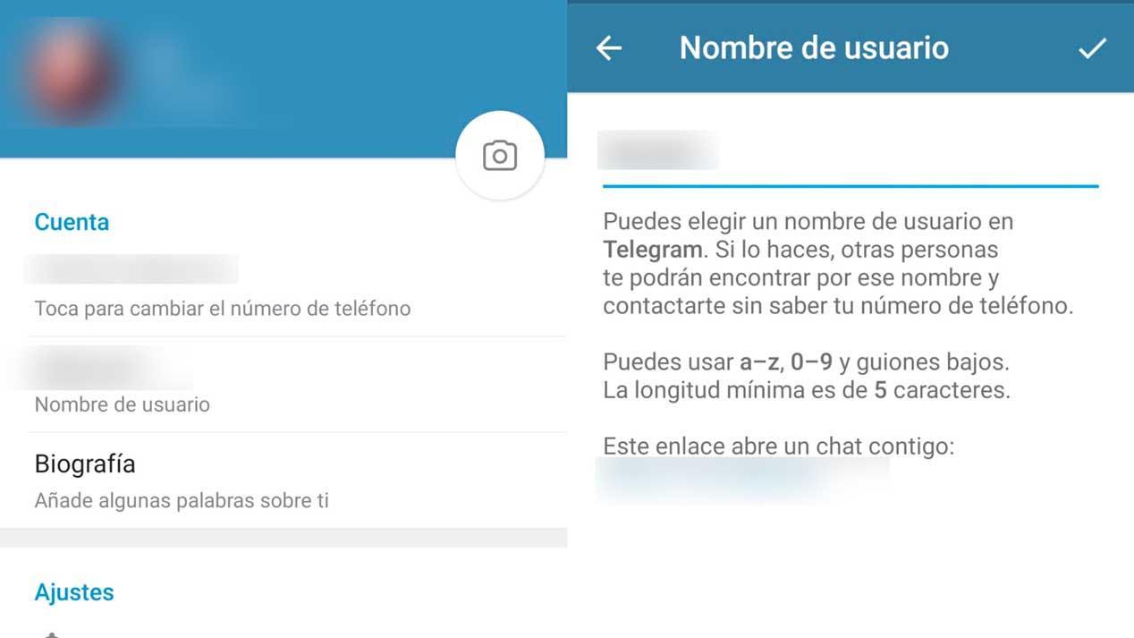 Cambiar usuario Telegram