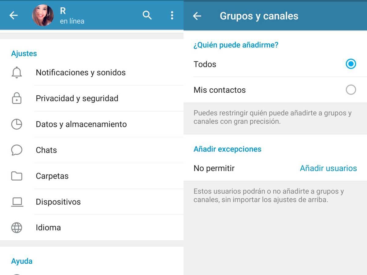 Grupos - Configuracion de privacidad Telegram