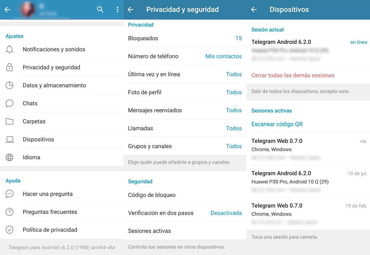 Sesiones de actividad - Ajustes de privacidad en Telegram