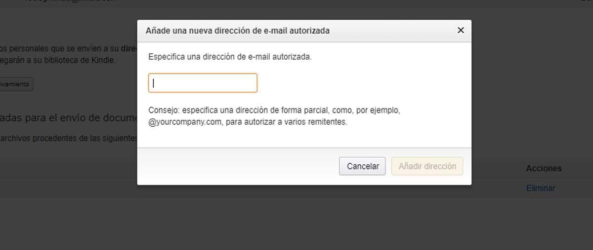 Añadir email