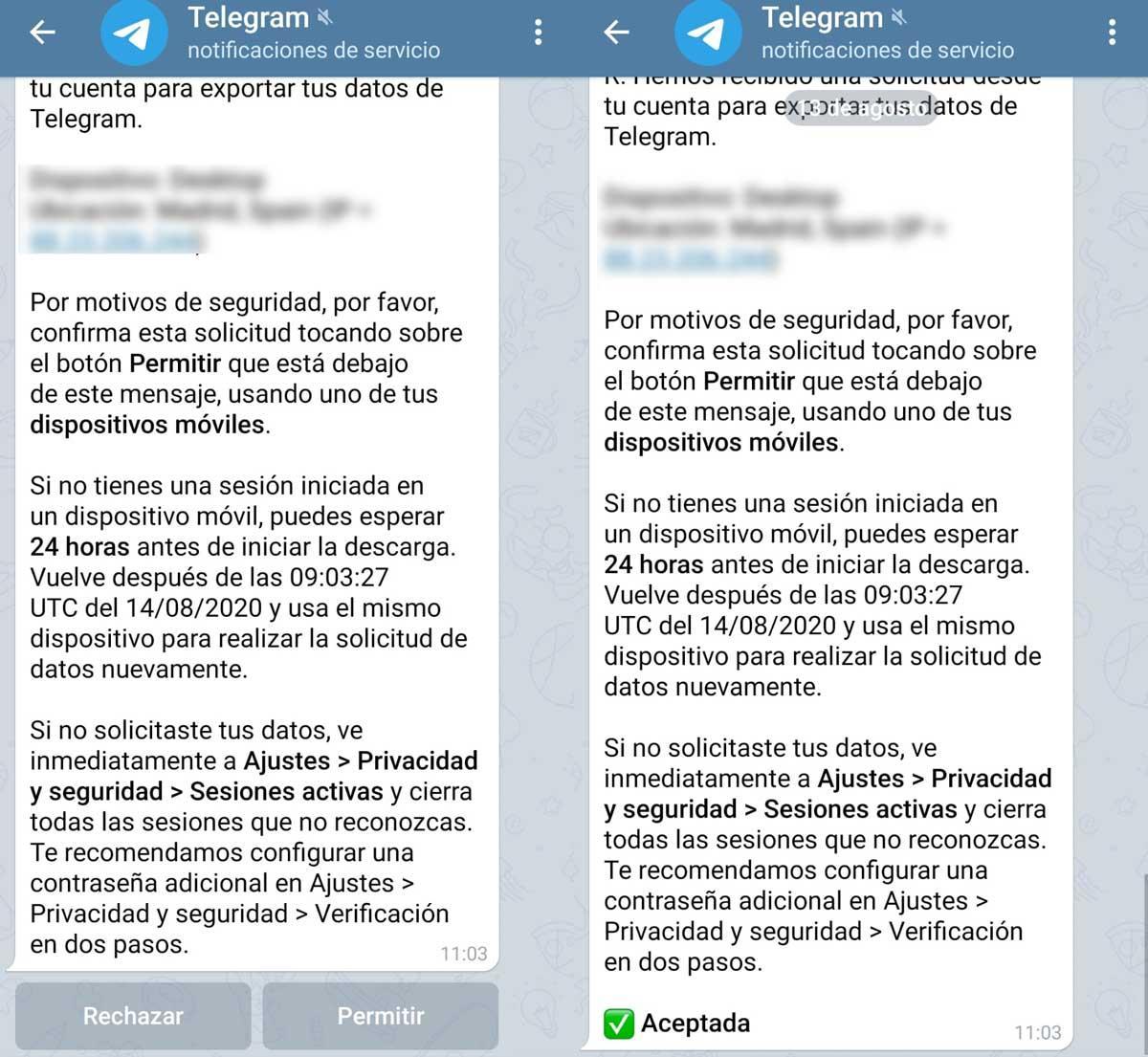 Exportar datos en Telegram recuperar mensajes borrados