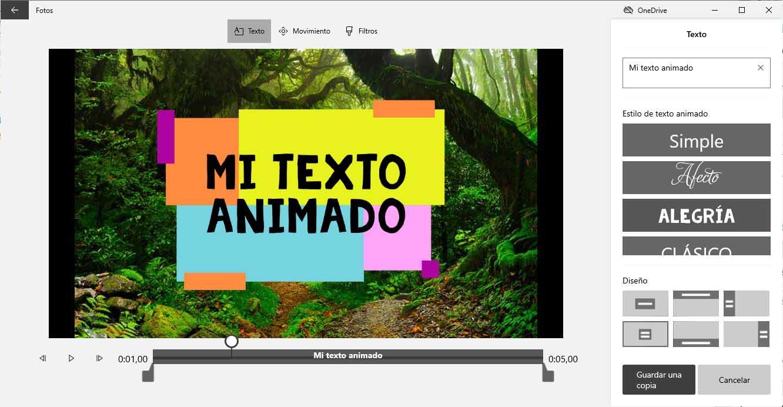 Texto animado en 3D