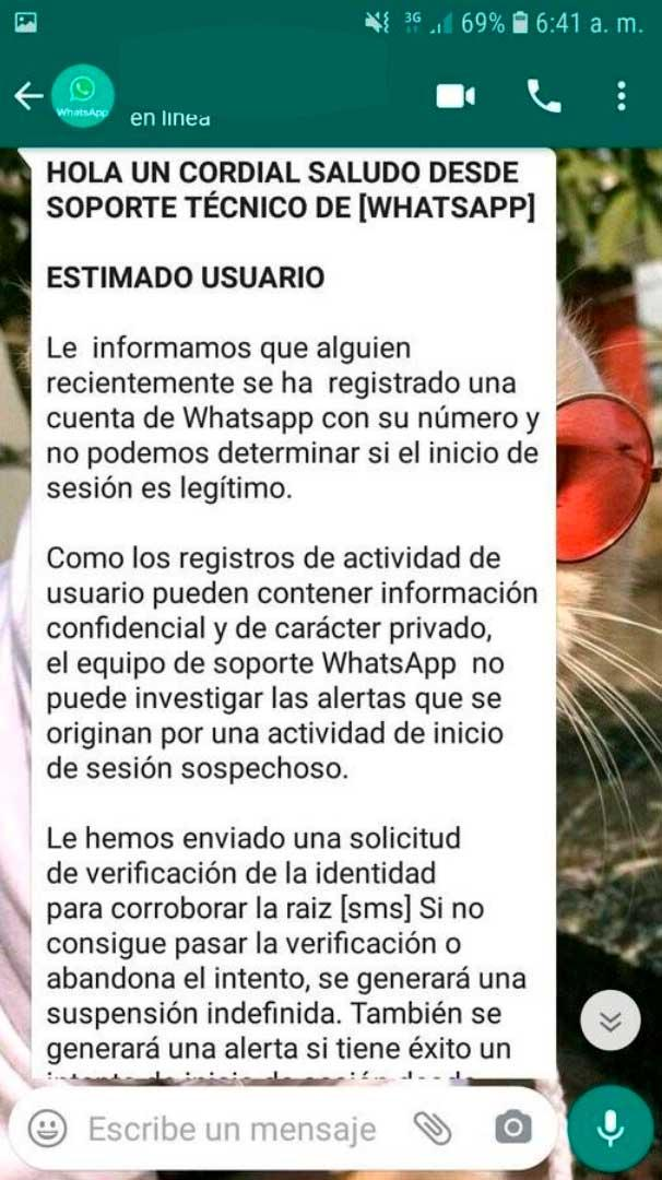 whatsapp sms estafa