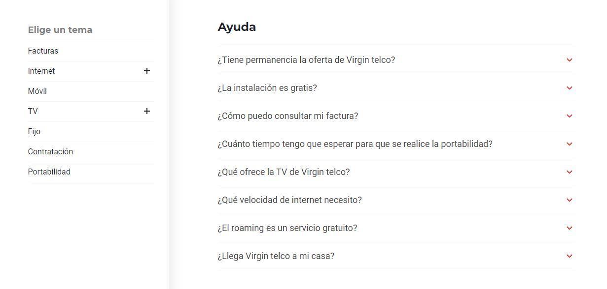 Preguntas frecuentes sobre el servicio al cliente de Virgin
